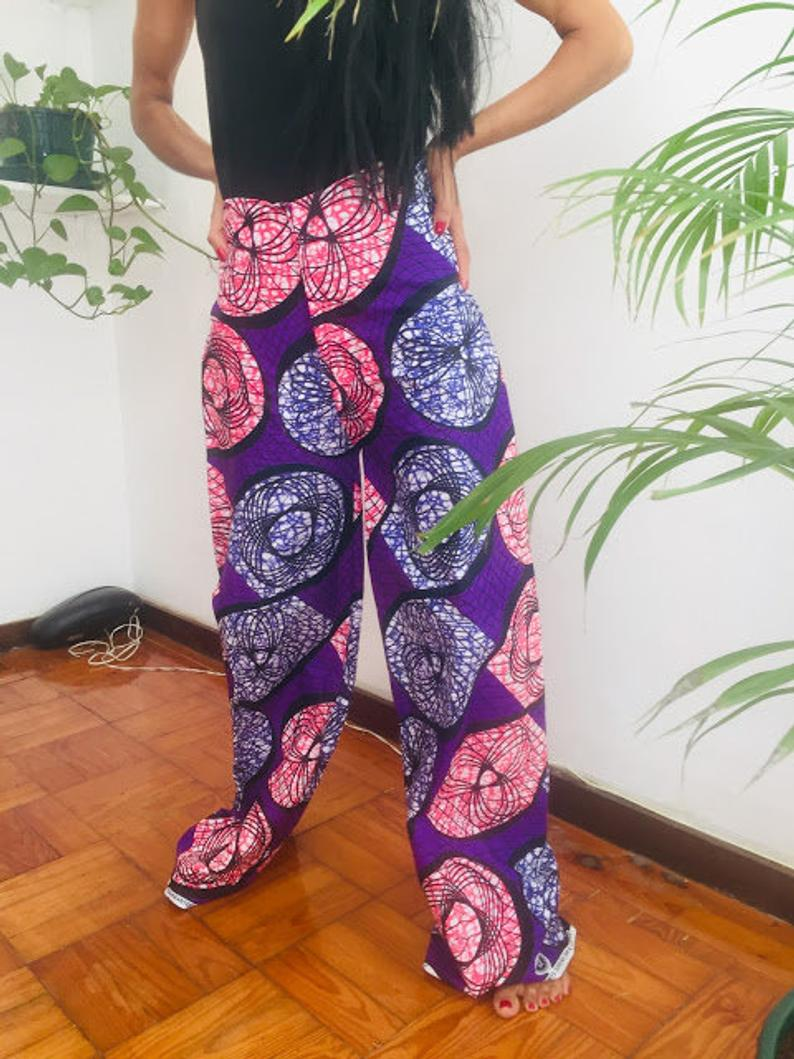 Republic of the Congo Size L Blue Grapes print Cotton dashiki african abstract print designer pants Worldwide free shipping