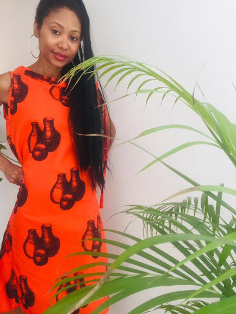 Shiselweni Personalized Dress Orange Floral print below Knee lenght Pollyblends Summer dashiki designer Worldwide free shipping