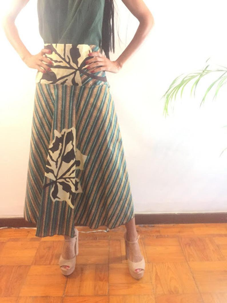 Ngozi - Ready to ship -Size L Green Abstract Landscape african print Skirt Knee lenght Pollyblends Summer dashiki designer Worldwide free shipping