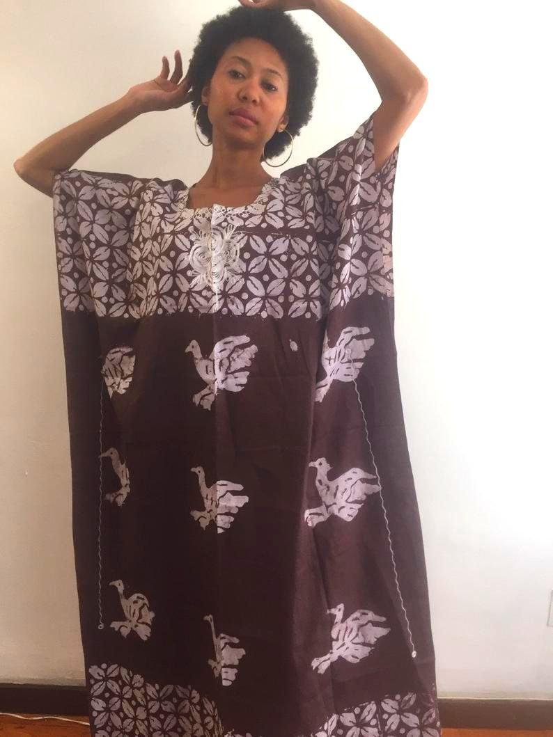 Ndjamena - Worldwide free shipping Brown Summer Fresh New kaftan cotton embroidered new dress