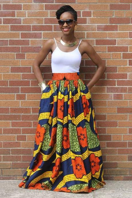 1 Worldwide Free Shipping - Handmade Costumisable Ethnic Designer Skirt Spring Women Dashiki African