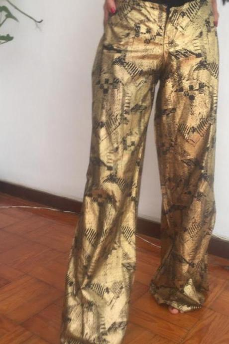 Golden abstract print Cotton dashiki african designer pants Worldwide free shipping