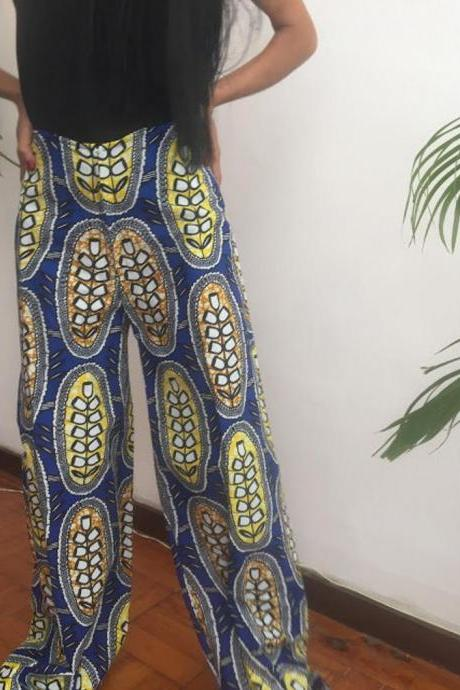 Blue Etnic African Cotton dashiki designer pants Worldwide free shipping