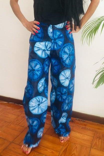 Size M Soweto Blue abstract african painted dashiki summer party designer pants Worldwide shipping Worldwide Free Shipping