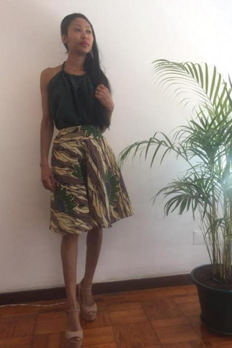 Cyndi Size M Green Floral print Skirt Knee lenght Pollyblends Summer dashiki african designer Worldwide shipping Worldwide Free Shipping