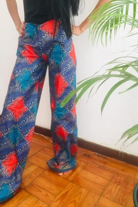 Namibia Size L Blue Red Abstract Psicadellic Pollyblends dashiki african abstract print designer pants Worldwide shipping