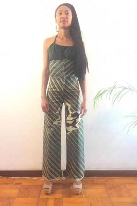 Nampula Size S Green Leafs print Pollyblends Summer dashiki african abstract print designer pants Worldwide shipping