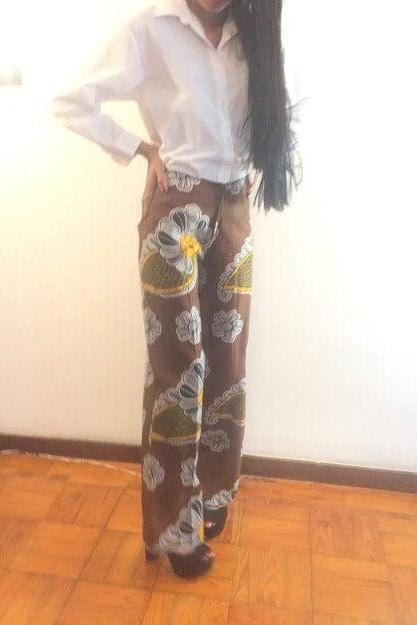 Size S Brown Pollyblends Summer dashiki african abstract print designer pants Worldwide shipping Worldwide Free Shipping