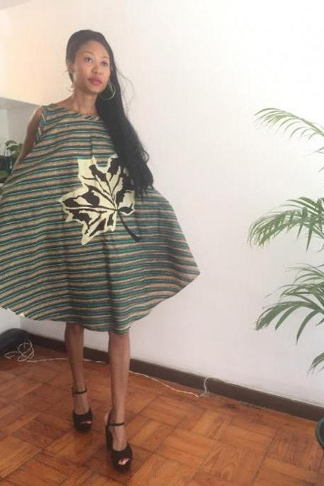 Chad - Gorgeous costumisable dashiki african Oversized Personalized Asymmetrical Dress Green Floral print Knee lenght