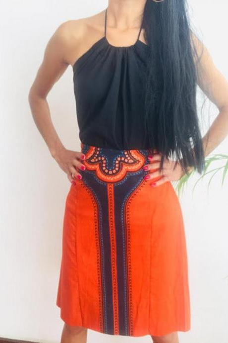 Gitega - Ready to ship - Size M Skirt Personalized Orange Above knee lenght Cotton printed designer Worldwide free shipping