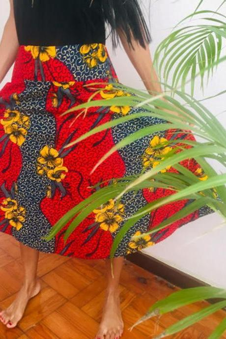 Bubanza - Red Floral knee lenght Cotton printed designer
