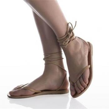 Women's Handmade South Africa Lace -Up Sandal Flats